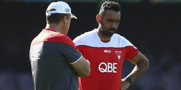 Adam Goodes talks to Sydney coach John Longmire during Swans training. Picture: Ryan Pierse/Getty Images AsiaPac.