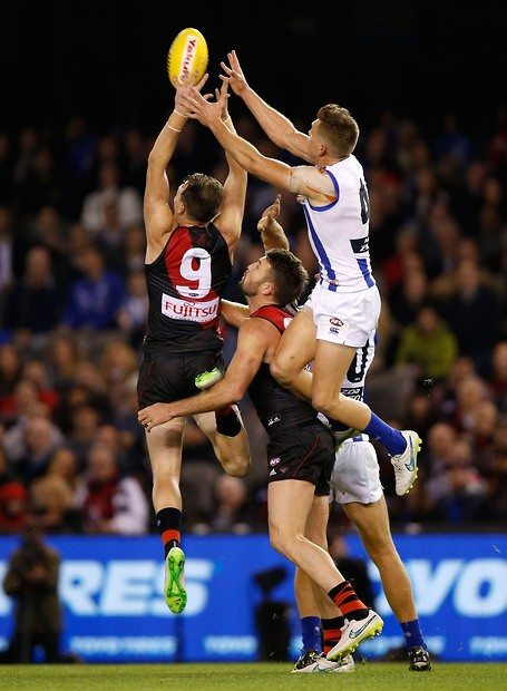 North Melbourne's Shaun Higgins took this great mark against the Bombers. Picture: Michael Willson/AFL Media.