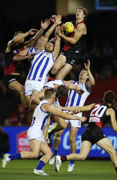 Joe Daniher took this huge screamer against the Roos on Friday night. Michael Dodge/AFL Media/Getty Images AsiaPac.