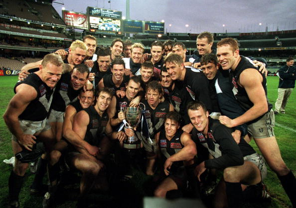 29 May 1999: The Victorian team celebrates with cup, after the State of Origin match between Victoria and South Australia, played at the Melbourne Cricket Ground, Melbourne, Australia. Victoria defeated South Australia. Mandatory Credit: Mark Dadswell/ALLSPORT