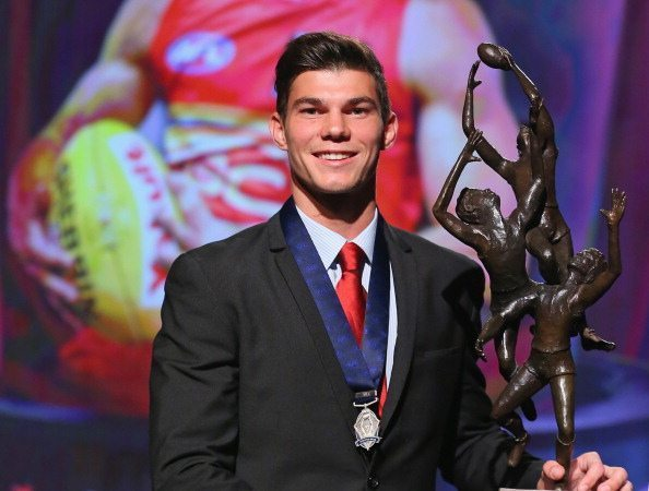 MELBOURNE, AUSTRALIA - SEPTEMBER 04: Jaeger O'Meara of the Gold Coast Suns poses after winning the 2013 Ron Evans Medal NAB Rising Star Award as the best young player in the AFL at Crown Palladium on September 4, 2013 in Melbourne, Australia. (Photo by Scott Barbour/Getty Images)