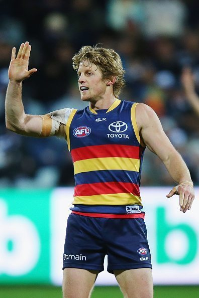 GEELONG, AUSTRALIA - JULY 23: Rory Sloane of the Crows celebrates a goal during the round 18 AFL match between the Geelong Cats and the Adelaide Crows at Simonds Stadium on July 23, 2016 in Geelong, Australia. (Photo by Michael Dodge/Getty Images)