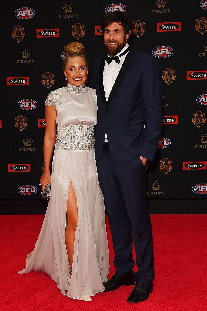 MELBOURNE, AUSTRALIA - SEPTEMBER 26: Josh Kennedy of the Eagles (R) and Laura Atkinson arrive ahead of the 2016 Brownlow Medal at Crown Entertainment Complex on September 26, 2016 in Melbourne, Australia. (Photo by Quinn Rooney/Getty Images)