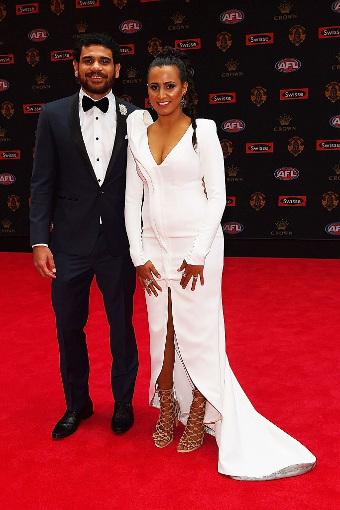 MELBOURNE, AUSTRALIA - SEPTEMBER 26: Cyril Rioli of Hawthorn and Shannyn Rioli arrive ahead of the 2016 Brownlow Medal at Crown Entertainment Complex on September 26, 2016 in Melbourne, Australia. (Photo by Quinn Rooney/Getty Images)