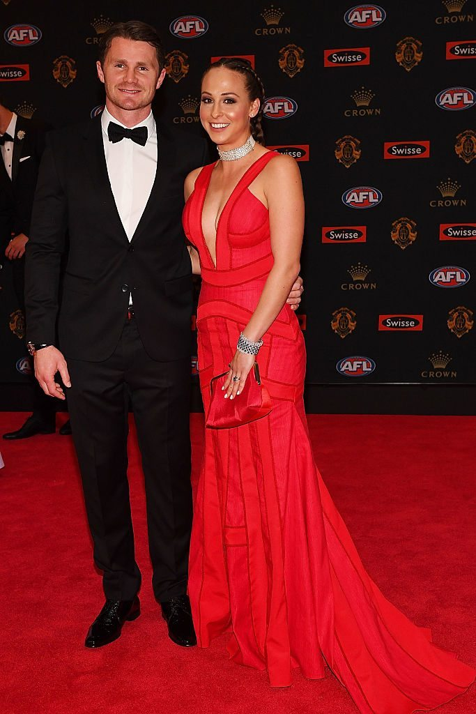 MELBOURNE, AUSTRALIA - SEPTEMBER 26: Patrick Dangerfield of Geelong (L) and Mardi Dangerfield arrive ahead of the 2016 Brownlow Medal at Crown Entertainment Complex on September 26, 2016 in Melbourne, Australia. (Photo by Quinn Rooney/Getty Images)