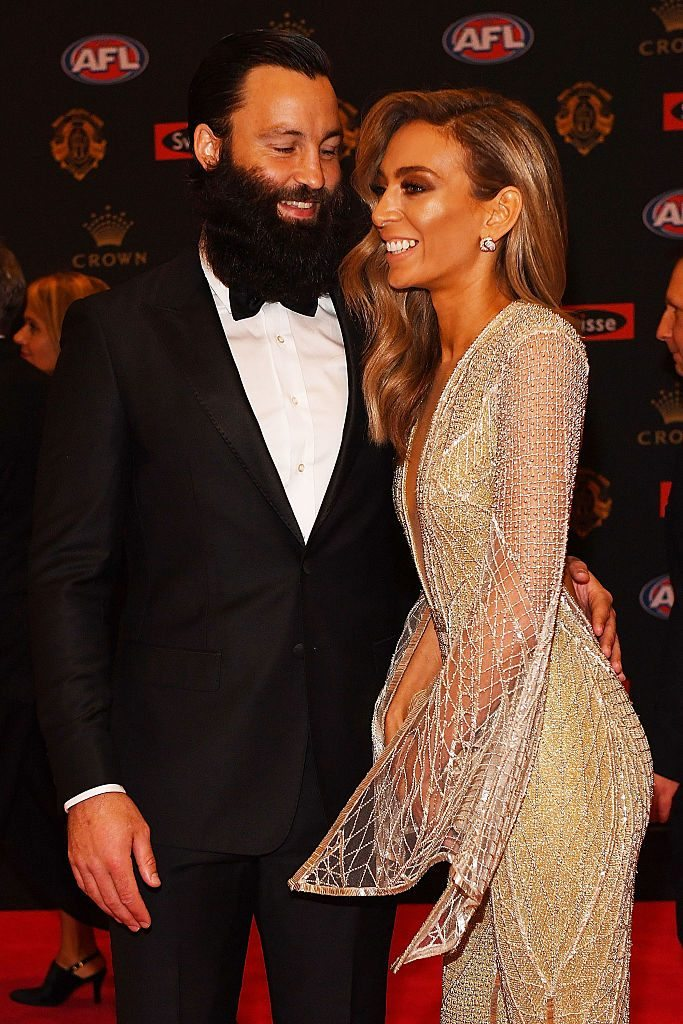 MELBOURNE, AUSTRALIA - SEPTEMBER 26: Jimmy Bartel of Geelong (L) and wife Nadia Bartel arrive ahead of the 2016 Brownlow Medal at Crown Entertainment Complex on September 26, 2016 in Melbourne, Australia. (Photo by Quinn Rooney/Getty Images)