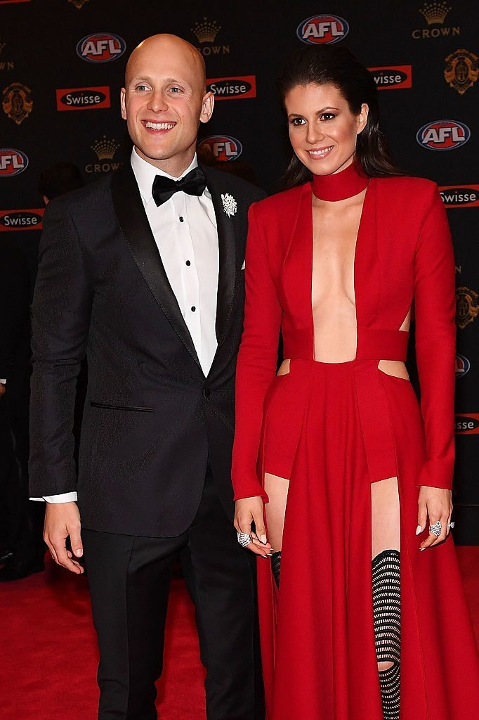 MELBOURNE, AUSTRALIA - SEPTEMBER 26: Gary Ablett of the Suns (L) and wife Jordan Ablett arrive ahead of the 2016 Brownlow Medal at Crown Entertainment Complex on September 26, 2016 in Melbourne, Australia. (Photo by Quinn Rooney/Getty Images)