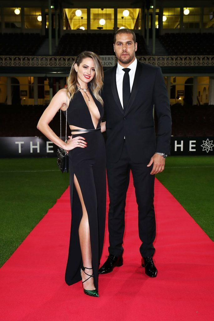SYDNEY, AUSTRALIA - SEPTEMBER 26: Jesinta Campbell and Lance Franklin arrive at the Sydney Swans function at Sydney Cricket Ground ahead of the 2016 AFL Brownlow Medal ceremony on September 26, 2016 in Sydney, Australia. (Photo by Brendon Thorne/Getty Images)
