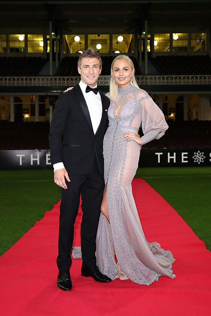 SYDNEY, AUSTRALIA - SEPTEMBER 26: Kieren Jack and Charlotte Goodlet arrive at the Sydney Swans function at Sydney Cricket Ground ahead of the 2016 AFL Brownlow Medal ceremony on September 26, 2016 in Sydney, Australia. (Photo by Brendon Thorne/Getty Images)