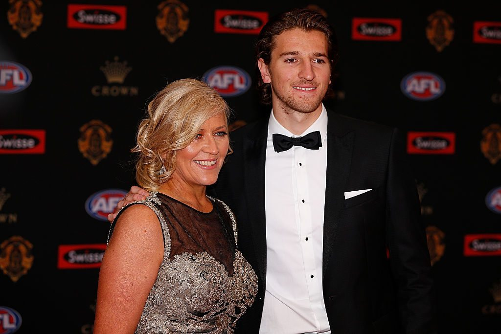 MELBOURNE, AUSTRALIA - SEPTEMBER 26: Marcus Bontompelli (R) of Western Bulldogs and Geraldine Bontompelli arrive ahead of the 2016 Brownlow Medal at Crown Entertainment Complex on September 26, 2016 in Melbourne, Australia. (Photo by Daniel Pockett/Getty Images)