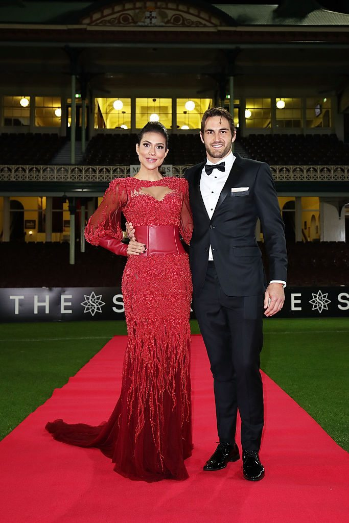 SYDNEY, AUSTRALIA - SEPTEMBER 26: Ana Calle and Josh Kennedy arrive at the Sydney Swans function at Sydney Cricket Ground ahead of the 2016 AFL Brownlow Medal ceremony on September 26, 2016 in Sydney, Australia. (Photo by Brendon Thorne/Getty Images)